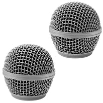 Replacement Steel Mesh Microphone Grill Head - Silver (2 Pack)