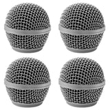 Replacement Steel Mesh Microphone Grill Head - Silver (4 Pack)
