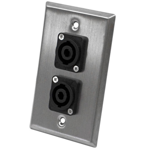 Stainless Steel Wall Plate - Dual 4 Pole Speakon Connectors