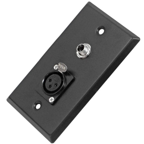 "Black Stainless Steel Wall Plate - One 1/4"" TS Mono Jack and One XLR Female Connector"