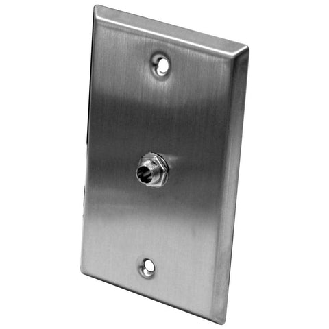 "Stainless Steel Wall Plate - One 1/4"" TS Mono Jack"