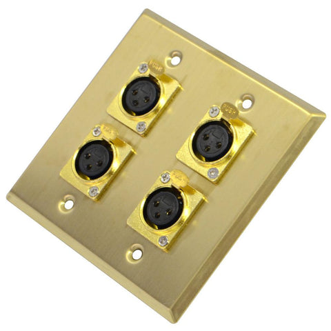 Gold Stainless Steel Wall Plate - 2 Gang with 4 XLR Female Connectors