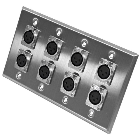 Stainless Steel Wall Plate - 4 Gang with 8 XLR Female Connectors