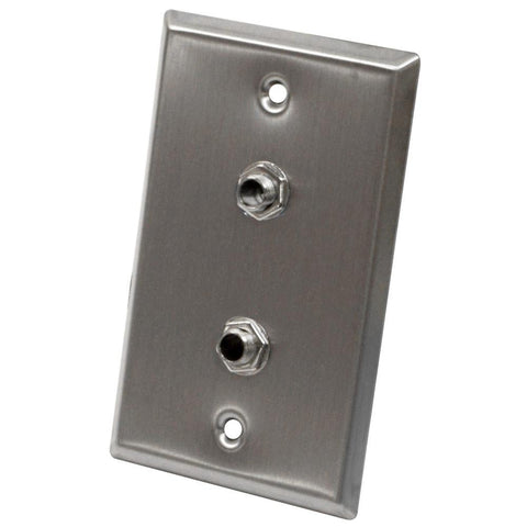 "Stainless Steel Wall Plate - Dual 1/4"" TRS Stereo Jacks"