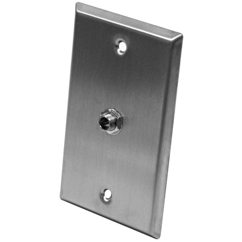 "Stainless Steel Wall Plate - One 1/4"" TRS Stereo Jack"
