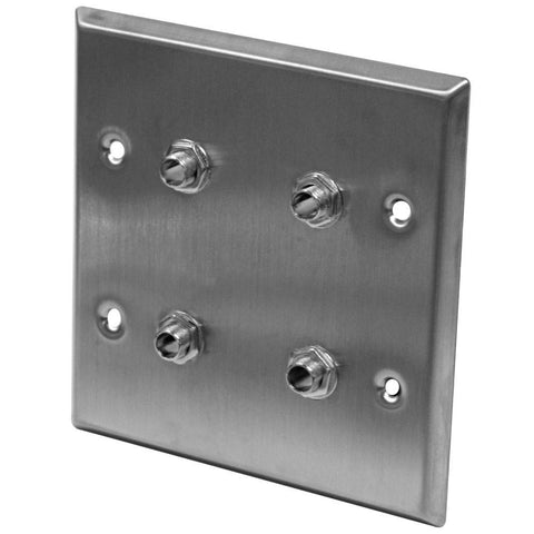 "Stainless Steel Wall Plate - 2 Gang -  Four 1/4"" TS Mono Jacks"