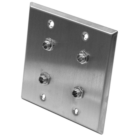 "Stainless Steel Wall Plate - 2 Gang -  Four 1/4"" TRS Stereo Jacks"