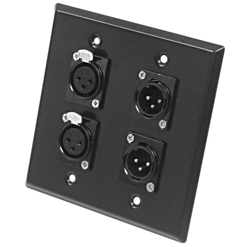 Black Stainless Steel Wall Plate - 2 Gang with 2 XLR Male and 2 XLR Female Connectors