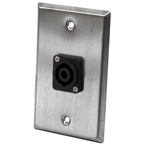 Stainless Steel Wall Plate - One 4 Pole Speakon Connector