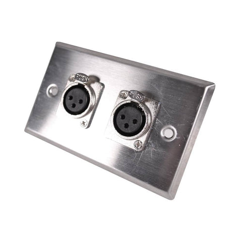 Stainless Steel Wall Plate -Dual XLR Female Connectors