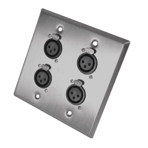 Stainless Steel Wall Plate - 2 Gang with 4 XLR Female Connectors