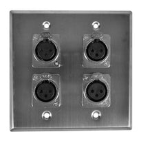 Stainless Steel Wall Plate - 2 Gang with 4 XLR Female Connectors (Metal Connectors)