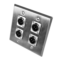 Stainless Steel Wall Plate - 2 Gang with 4 XLR Male Connectors
