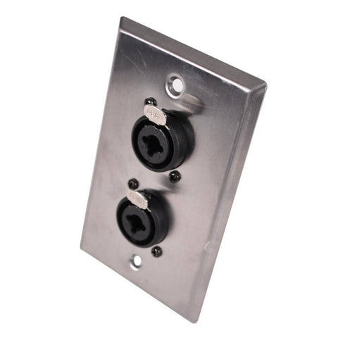 Stainless Steel Wall Plate - Dual 1/4 Inch and XLR Combo Jacks