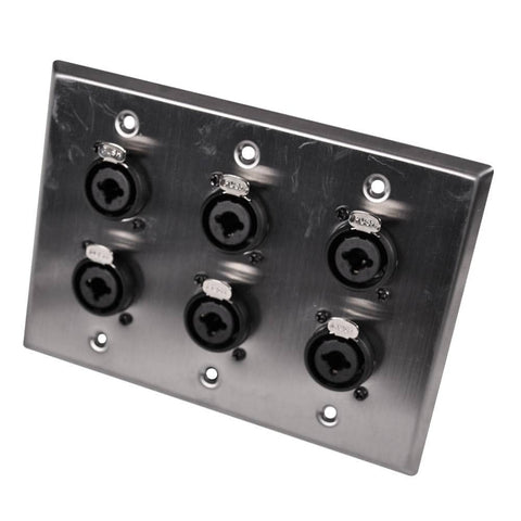 Stainless Steel Wall Plate - 3 Gang with 6 XLR and 1/4 Inch Combo Connectors