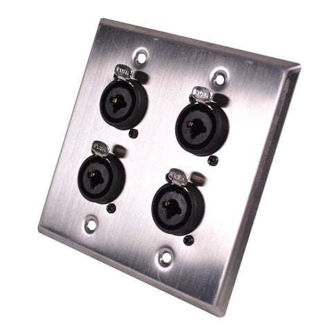Stainless Steel Wall Plate - 2 Gang with 4 XLR and 1/4 Inch Combo Connectors