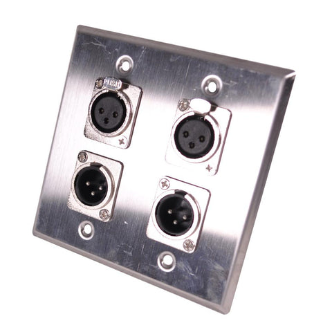 Stainless Steel Wall Plate - 2 Gang with 2 XLR Male and 2 XLR Female Connectors