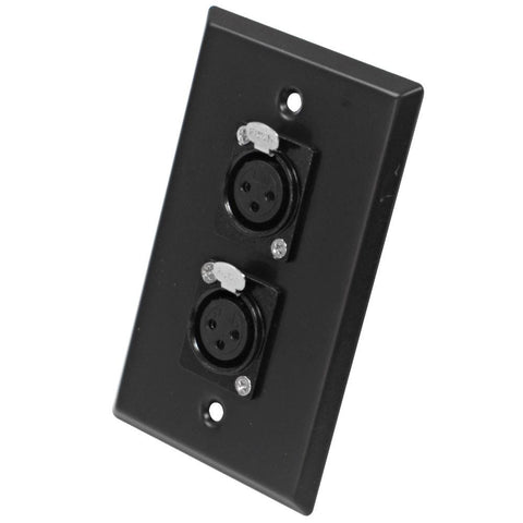 Black Stainless Steel Wall Plate - Dual XLR Female Connectors