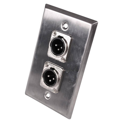 Stainless Steel Wall Plate - Dual XLR Male Connectors