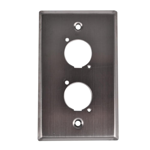"Stainless Steel Wall Plate - For Dual ""D"" Size Connectors"