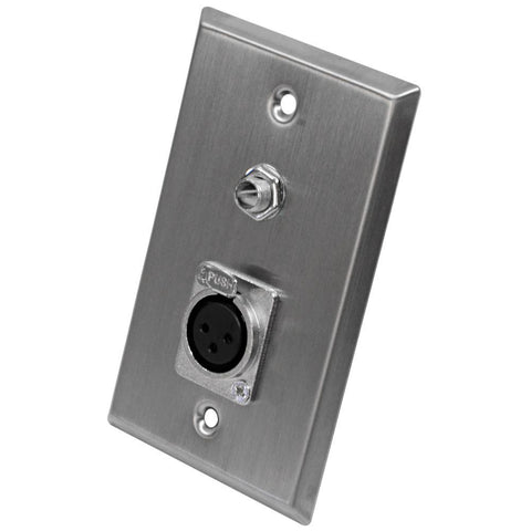 "Stainless Steel Wall Plate - One 1/4"" TS Mono Jack and One XLR Female Connector"
