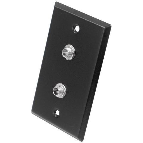 "Black Stainless Steel Wall Plate - Dual 1/4"" TRS Stereo Jacks"