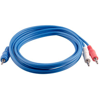 SA-Y19 - 6 Foot Blue 3.5mm Stereo Male to Dual 3.5mm Mono Splitter Cable