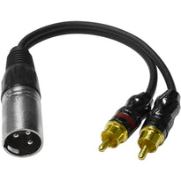 SA-Y6 - 6 Inch Splitter Patch Y Cable - 1 XLR Male to 2 RCA Male