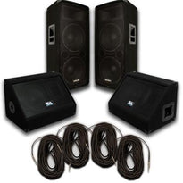 "Pair of Dual 12"" PA Speakers, 10"" Floor Monitors, and 4 50' Cables"