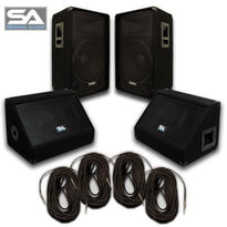 "Pair of 15"" PA Speakers, 10"" Floor Monitors, and 4 Cables"