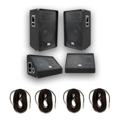 "Pair of 15"" PA Speakers, 15"" Floor Monitors, and 4 Cables"