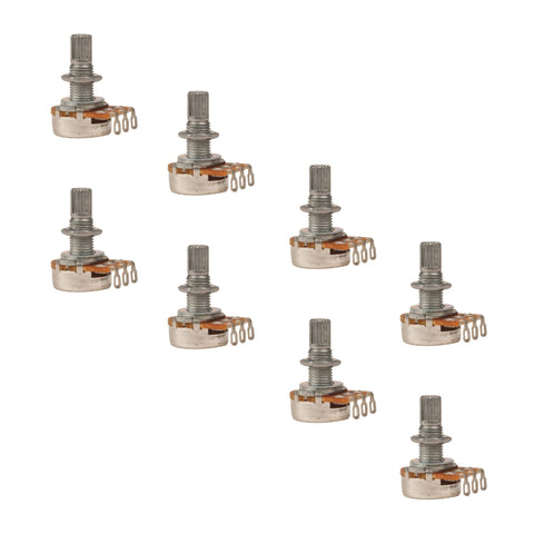 8 Pack of 250k Ohm Logarithmic Taper Volume Pots with Coarse Knurled Split Shaft