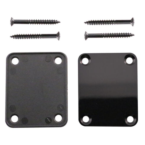 Black Replacement 4 Bolt Neck Plate for Strat, Tele and Electric Guitars - Mounting Screws Included