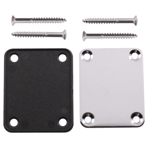 Chrome Replacement 4 Bolt Neck Plate for Strat, Tele and Electric Guitars - Mounting Screws Included