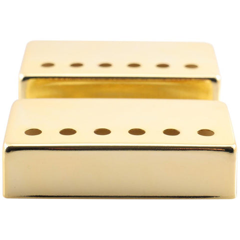 Pair of Gold Metal Humbucker Covers for Electric Guitars - 52mm Spacing