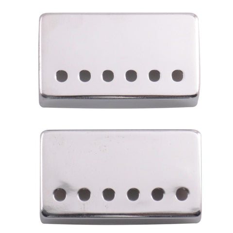 Pair of Chrome Metal Humbucker Covers for Electric Guitars - 52mm Spacing