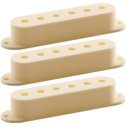 3 Pack of Antique Ivory Single Coil Pickup Covers - Strat Guitar Style