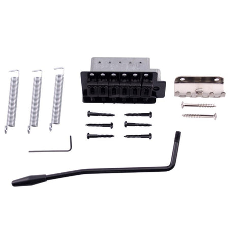 Black Strat-Style Tremolo Bridge Set for Electric Guitars
