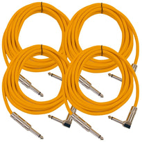 Right Angle to Straight Guitar Cable 10' (4 Pack)