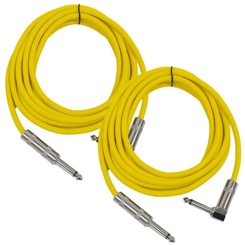 Right Angle to Straight Guitar Cable 10' (2 Pack)