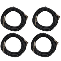 4 Pack of Black 20 Foot Right Angle to Straight Guitar Cables