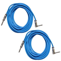 Pair of Blue 20 Foot Right Angle to Straight Guitar Cables