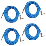 4 Pack of Blue 20 Foot Right Angle to Straight Guitar Cables
