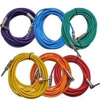 Colored 20 Foot Right Angle to Straight Guitar Cables (6 Pack)