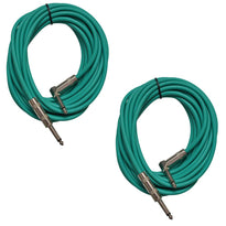 Pair of Green 20 Foot Right Angle to Straight Guitar Cables