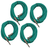 4 Pack of Green 20 Foot Right Angle to Straight Guitar Cables