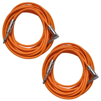 Pair of Orange 20 Foot Right Angle to Straight Guitar Cables