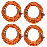 4 Pack of Orange 20 Foot Right Angle to Straight Guitar Cables
