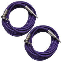 Pair of Purple 20 Foot Right Angle to Straight Guitar Cables