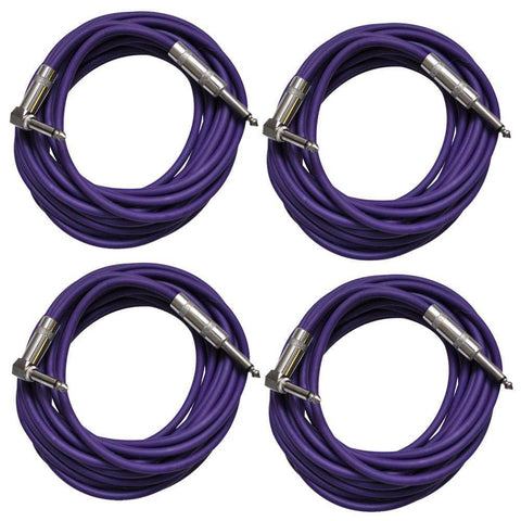 4 Pack of Purple 20 Foot Right Angle to Straight Guitar Cables